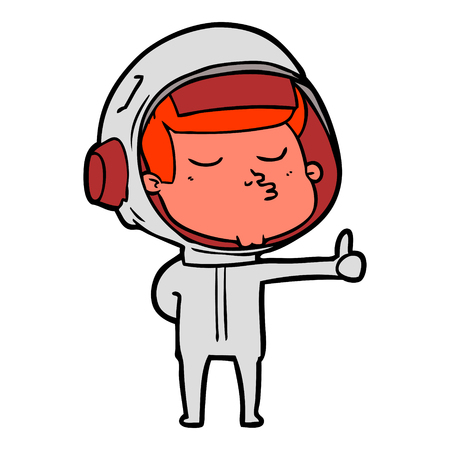 Confident astronaut giving thumbs up sign in cartoon illustration. Illustration