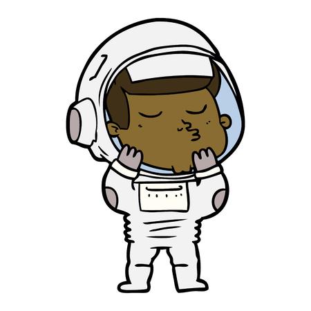 Confident astronaut  in cartoon illustration. Illusztráció