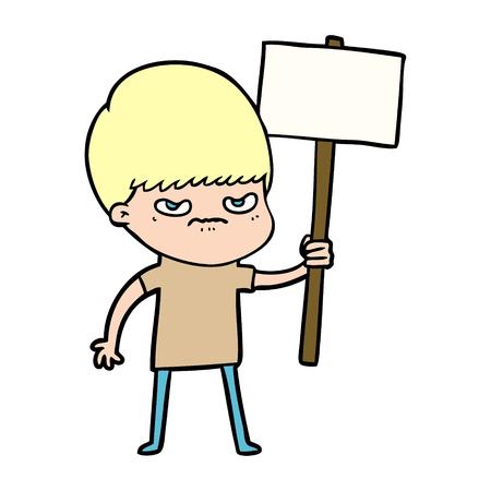 Hand drawn angry cartoon boy protesting Illustration