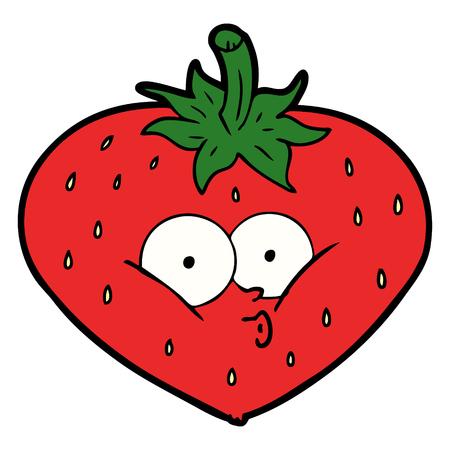 Hand drawn cartoon strawberry Иллюстрация
