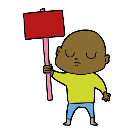 cartoon bald man Foto de archivo - 95246783