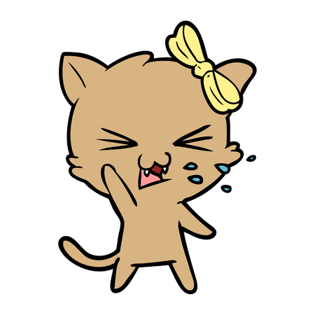 cartoon disgusted cat with yellow ribbon Illustration