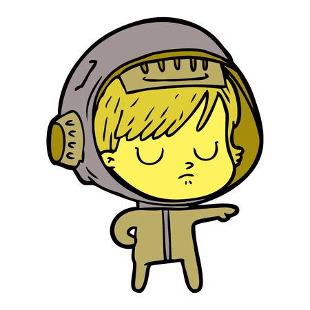 Cartoon astronaut woman Illustration