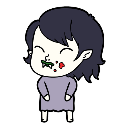 頬に血を持つ漫画吸血鬼の女の子  イラスト・ベクター素材