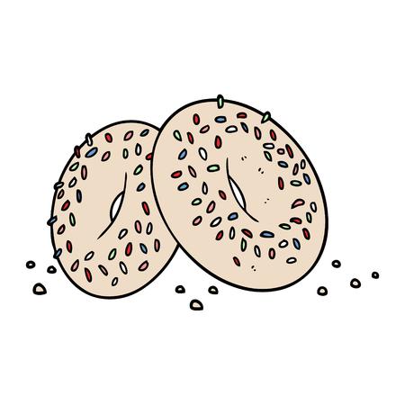 Cartoon bagels isolated on white background