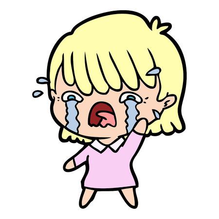 Cartoon girl crying Illustration