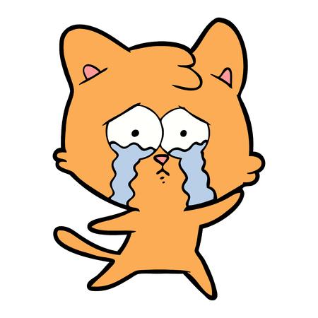 cartoon crying orange cat