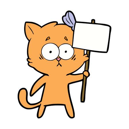 cartoon cat holding a white placard 向量圖像