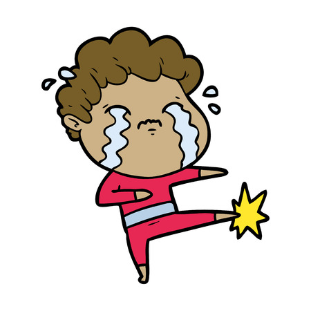 Crying man kicking in cartoon illustration.