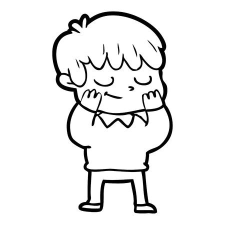 Happy boy, hands on his cheeks  in cartoon illustration.