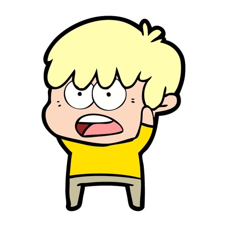 worried cartoon boy Vector illustration.