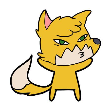 clever cartoon fox Vector illustration.