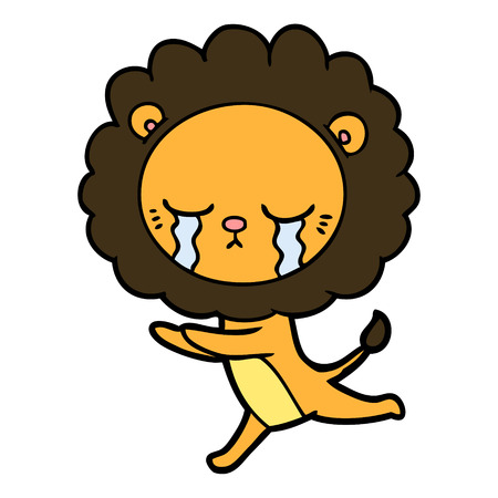 Crying lion cartoon while stretching Illustration