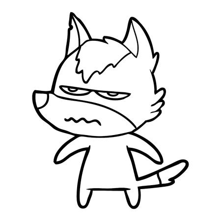 cartoon annoyed wolf Vector illustration isolated on white background. Ilustração