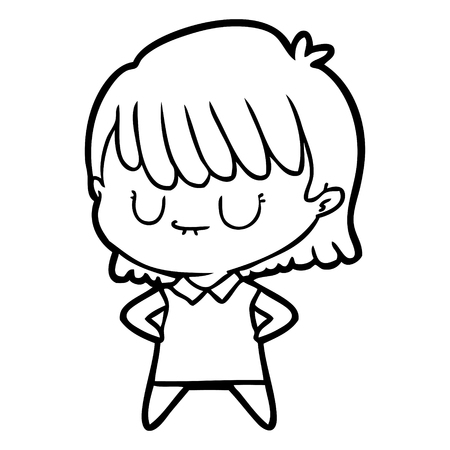 Closed eyes girl cartoon