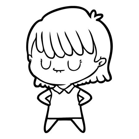 Closed eyes girl cartoon
