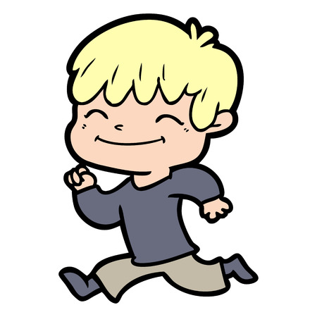 Joyous boy cartoon while running