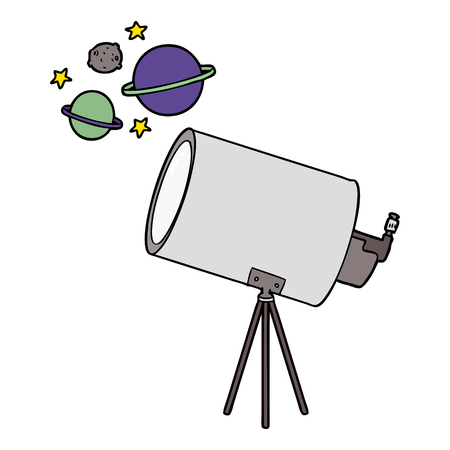 cartoon telescope looking at planets Stock Vector - 95254449