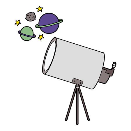 cartoon telescope looking at planets