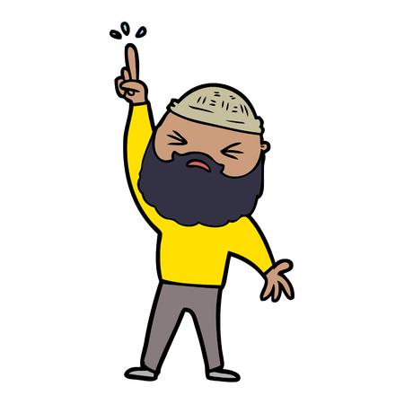 Hombre de dibujos animados con barba Ilustración vectorial.