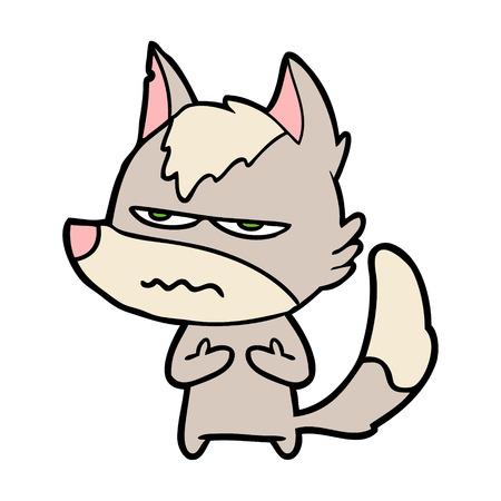 cartoon annoyed wolf Vector illustration.