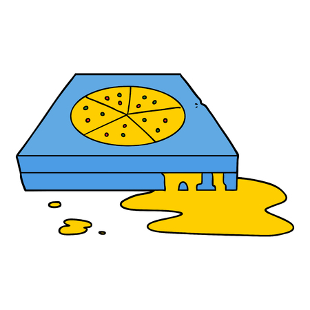 Hand drawn cartoon greasy pizza Çizim