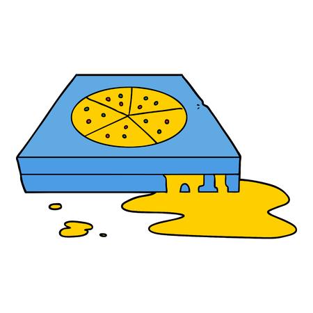 Pizza grasosa de dibujos animados dibujados a mano Foto de archivo - 95324032