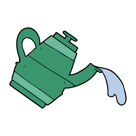 Green kettle cartoon with water pouring