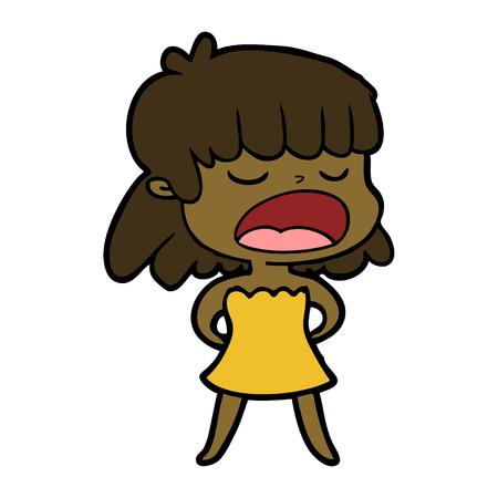 Woman talking loudly cartoon Illustration