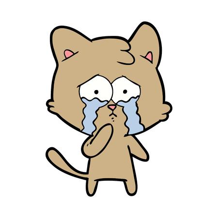 Weeping and terrified kitten cartoon