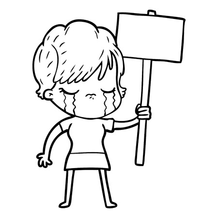 Weeping woman with sign board