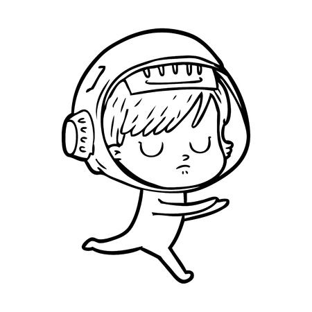 Sleeping space woman cartoon