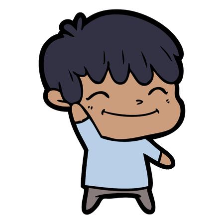 Delighted cute boy cartoon