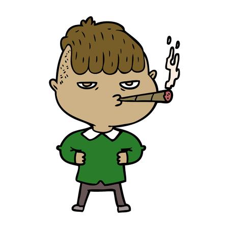 cartoon man smoking Vector illustration.