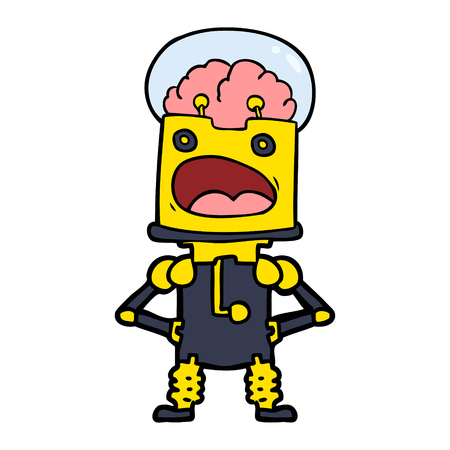 Colorful robot with mouth wide open cartoon
