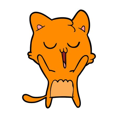 Sorglos Singing Kitten Cartoon Standard-Bild - 95294987