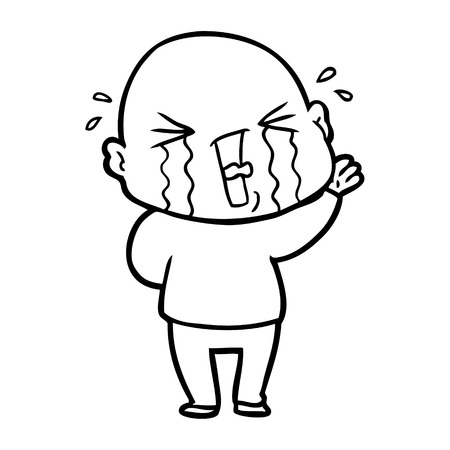 Weeping bald man cartoon