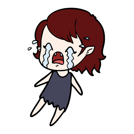 Weeping and sad vampire girl cartoon