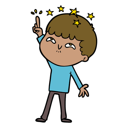 Joyful and amazed boy cartoon
