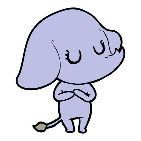 Cute but snobbish elephant cartoon Ilustração