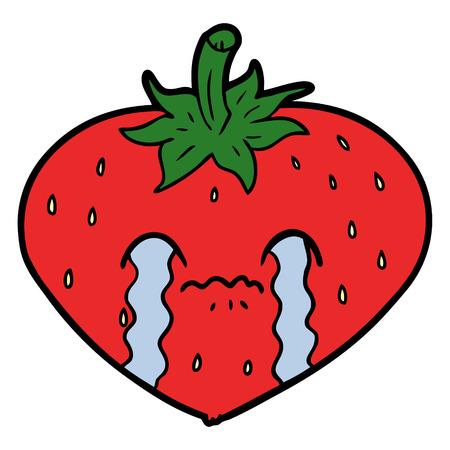 Crying strawberry cartoon Иллюстрация