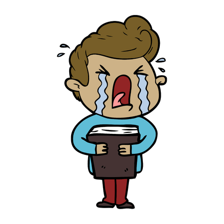 Weeping man holding a book cartoon Illustration