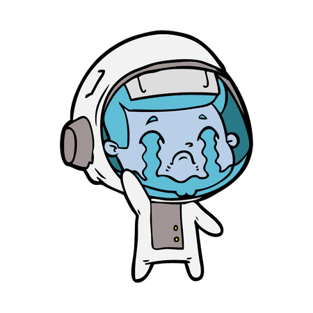 Extremely sad and crying space man cartoon