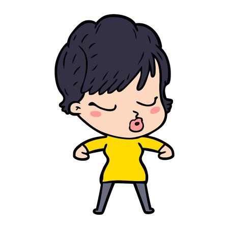 Hand drawn cartoon woman with eyes shut