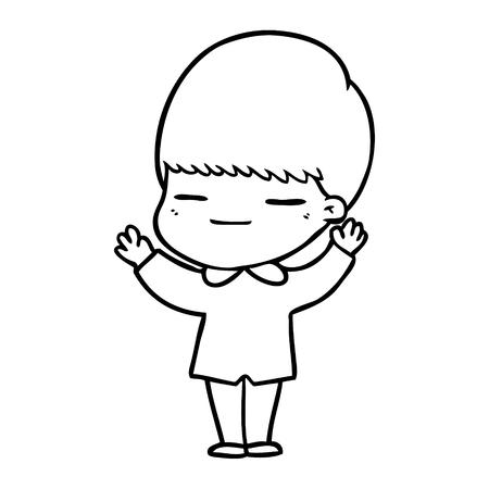 Hand drawn cartoon smug boy