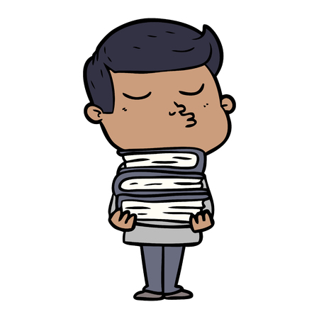 cartoon model guy pouting holding books