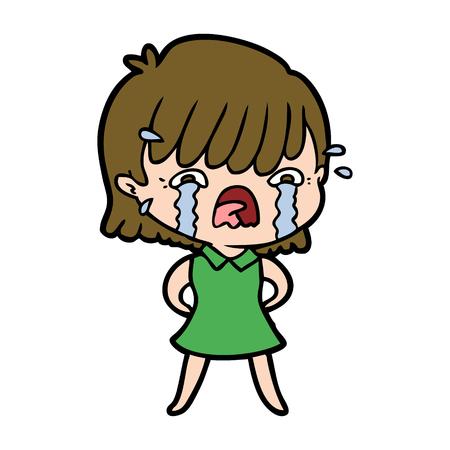 Hand drawn cartoon girl crying Ilustração