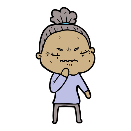 Irritated old lady cartoon