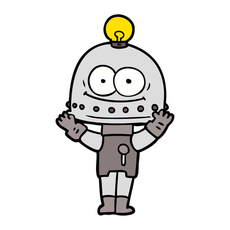 Gleeful robot with light bulb cartoon
