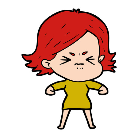 Angry red haired girl cartoon Çizim